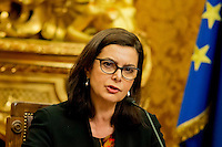 "Roma 4 Febbraio 2014<br /> Il presidente della Camera dei Deputati Laura Boldrini, partecipa alla presentazione  del  documento conclusivo dell'indagine conoscitiva su ""Misure per fronteggiare l'emergenza occupazionale, con particolare riguardo alla disoccupazione giovanile"", a  Palazzo Montecitorio.<br /> Rome, February 4, 2014 <br /> The president of the Chamber of Deputies Laura Boldrini, participates in the presentation of the final study document on ""Measures to deal with the emergency employment, especially with regard to youth unemployment,""  to Palazzo Montecitorio."