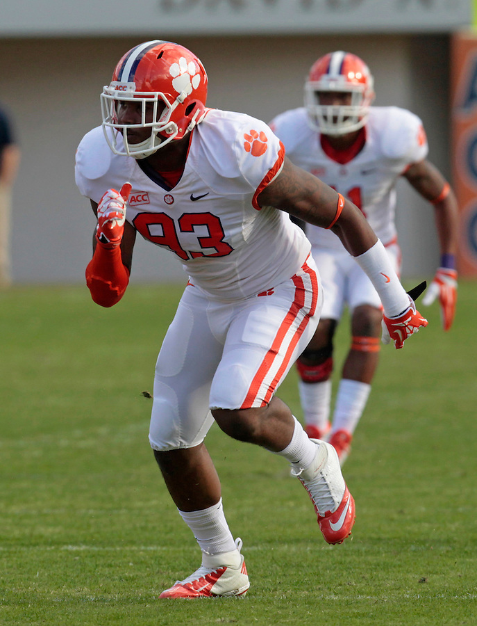 Clemson defensive end Corey Crawford (93) during and NCAA football game at Scott Stadium in Charlottesville, VA. Clemson defeated Virginia 59-10. Photo/Andrew Shurtleff
