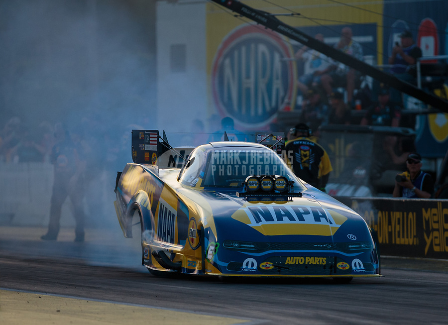 Mar 15, 2019; Gainesville, FL, USA; NHRA funny car driver Ron Capps during qualifying for the Gatornationals at Gainesville Raceway. Mandatory Credit: Mark J. Rebilas-USA TODAY Sports