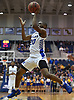 Jalen Ray #20 of Hofstra University makes an acrobatic move to shoot during the first half of non-conference NCAA men's basketball game against Mt. St. Mary's at Mack Sports Complex in Hempstead, NY on Friday, Nov. 9, 2018