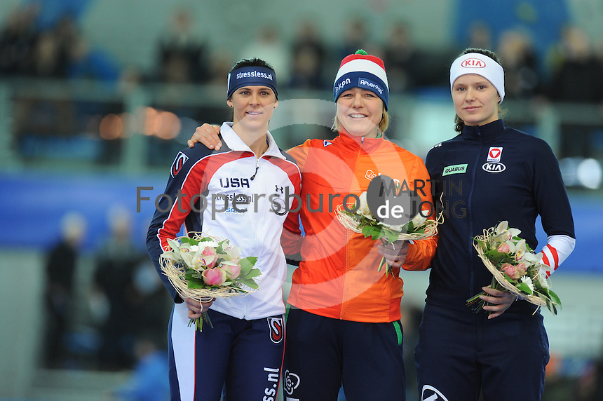 SPEED SKATING: STAVANGER: Sørmarka Arena, 31-01-2016, ISU World Cup, Podium combined ranking 500-1000m Ladies, Brittany Bowe (USA), Mirjam Steunebrink (on behalf of Jorien ter Mors), Vanessa Bittner (AUT), ©photo Martin de Jong