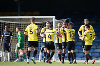 Harrogate celebrate their third goal scored by Aaron Martin, Harrogate Town,  during Southend United vs Harrogate Town, Sky Bet EFL League 2 Football at Roots Hall on 12th September 2020