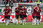 11.05.2019, HDI Arena, Hannover, GER, 1.FBL, Hannover 96 vs SC Freiburg<br /> <br /> DFL REGULATIONS PROHIBIT ANY USE OF PHOTOGRAPHS AS IMAGE SEQUENCES AND/OR QUASI-VIDEO.<br /> <br /> im Bild / picture shows<br /> Souza Silva Walace (Hannover 96 #08) bejubelt seinen Treffer zum 3:0 mit Teamkollegen, Miiko Albornoz (Hannover 96 #03), Marvin Bakalorz (Hannover 96 #06), Genki Haraguchi (Hannover 96 #10), <br /> <br /> Foto © nordphoto / Ewert