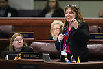 Nevada Assembly Minority Leader Marilyn Kirkpatrick, D-North Las Vegas, right, speaks on the Assembly floor at the Legislative Building in Carson City, Nev., on Monday, March 16, 2015. Assemblywoman Maggie Carlton, D-Las Vegas, is at left. <br /> Photo by Cathleen Allison