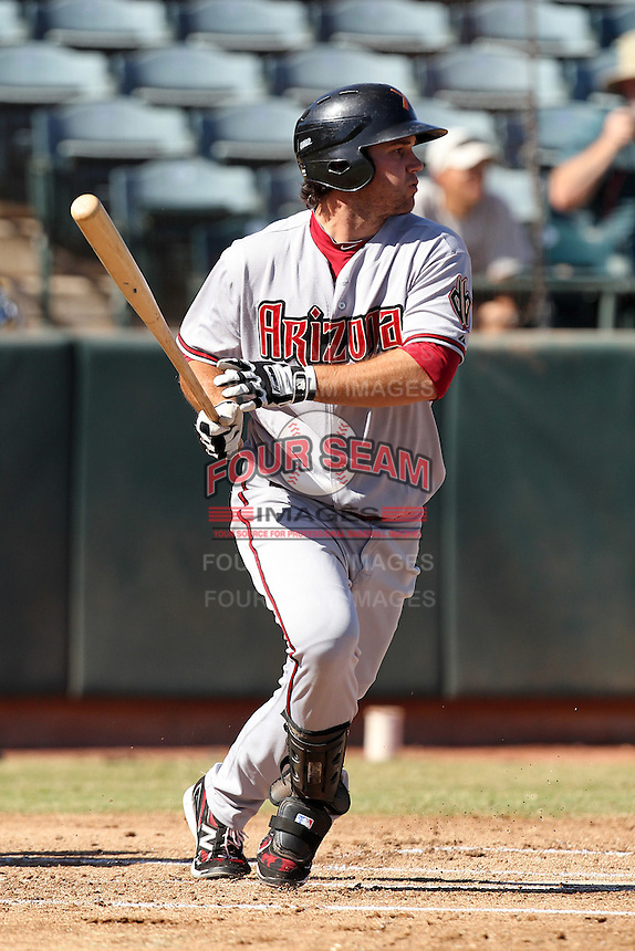 Salt River Rafters third baseman Ryan Wheeler #27 during an Arizona Fall League game against the Phoenix Desert Dogs at Phoenix Municipal Stadium on November 1, 2011 in Phoenix, Arizona.  Salt River defeated Phoenix 10-7.  (Mike Janes/Four Seam Images)