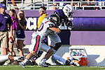 TCU Horned Frogs wide receiver David Porter (14) and Samford Bulldogs defensive back Josh Kimberlin (10) in action during the game between the Samford Bulldogs and the TCU Horned Frogs at the Amon G. Carter Stadium in Fort Worth, Texas.  TCU leads Stamford 24 to 7 at halftime.