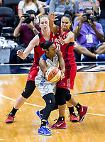 Washington, DC - Sept 17, 2017: Minnesota Lynx guard Renee Montgomery (21) is trapped by Washington Mystics center Emma Meesseman (33) and Washington Mystics guard Kristi Toliver (20) during playoff game between the Mystics and Lynx at the Verizon Center in Washington, DC. (Photo by Phil Peters/Media Images International)
