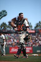 SAN FRANCISCO, CA - APRIL 24:  Trevor Brown #14 of the San Francisco Giants works during the game against the Miami Marlins at AT&T Park on Sunday, April 24, 2016 in San Francisco, California. Photo by Brad Mangin