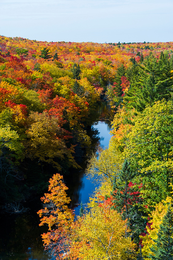 Fall color along the Dead River near Negaunee and Marquette, Michigan on Michigan's Upper Peninsula.