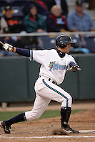 July 6 2009: Anthony Phillips of the Everett AquaSox bats against the Yakima Bears at Everett Memorial Stadium in Everett,WA.  Photo by Larry Goren/Four Seam Images