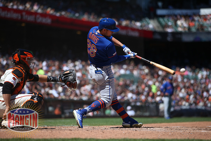 SAN FRANCISCO, CA - JULY 20:  J.D. Davis #28 of the New York Mets bats against the San Francisco Giants during the game at Oracle Park on Saturday, July 20, 2019 in San Francisco, California. (Photo by Brad Mangin)