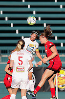 Rochester, NY - Friday June 17, 2016: Western New York Flash midfielder Samantha Mewis (5), Western New York Flash midfielder Abby Erceg (6), Portland Thorns FC midfielder Lindsey Horan (7) after a regular season National Women's Soccer League (NWSL) match between the Western New York Flash and the Portland Thorns FC at Rochester Rhinos Stadium.