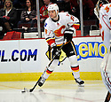 ANTON BABCHUK,  of the Calgary Flames in action  during the Flames  game against the Chicago Blackhawks at the United Center in Chicago, IL.  The Chicago Blackhawks beat the Calgary Flames 4-2 in Chicago, Illinois on December 5, 2011....