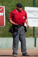 24 May 2009: Home plate umpire Gerald Lacoste is seen during the 2009 challenge de France, a tournament with the best French baseball teams - all eight elite league clubs - to determine a spot in the European Cup next year, at Montpellier, France. Rouen wins 7-5 over Savigny.