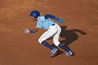 Maikel Garcia (2) of the Burlington Royals takes off for second base against the Danville Braves at Burlington Athletic Stadium on August 9, 2019 in Burlington, North Carolina. The Royals defeated the Braves 6-0. (Brian Westerholt/Four Seam Images)