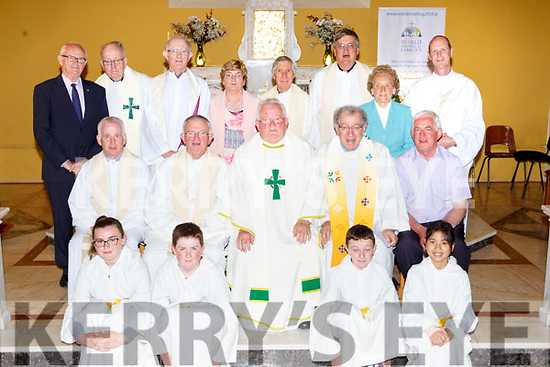 Fr Luke Roche celebrated his Golden jubilee in St Gobnaits church Keel on Saturday evening front row l-r: Ellen Griffin, Gavin Sheehan, Eoin ladden and Maire Chau-O'Brien. Middle row: Fr Kevin O'Sullivan, Fr Tom Leane, fr Luke Roche, Fr Tom Looney, Pat Flynn. Back row: Diarmuid O'Sullivan, Fr John Shanahan, Fr Sean Horgan, Katherine O'Connor, Fr Dermot Foley, fr Michael Fleming, Maggie O'Sullivan and Deacon Conor Bradley