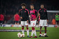 (l-r) Reiss Nelson, Theo Walcott & Joe Willock of Arsenal ahead of the UEFA Europa League group stage match between Arsenal and FC Red Star Belgrade at the Emirates Stadium, London, England on 2 November 2017. Photo by PRiME Media Images.