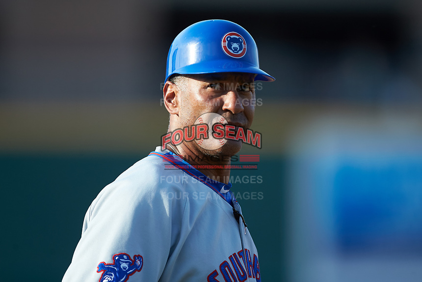 South Bend Cubs manager Jimmy Gonzalez (44) coaches third base during the game against the Lansing Lugnuts at Cooley Law School Stadium on June 15, 2018 in Lansing, Michigan. The Lugnuts defeated the Cubs 6-4.  (Brian Westerholt/Four Seam Images)