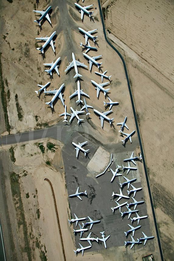 Airplane storage in Arizona desert