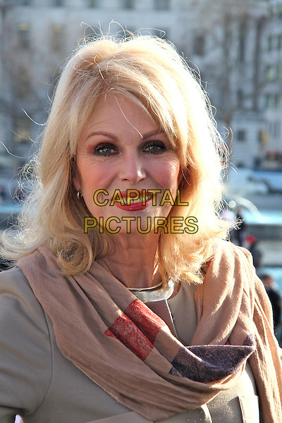 Joanna Lumley reveals new fourth plinth in Trafalgar Square, a bronze sculpture of boy on rocking horse by Scandinavian artistic duo Elmgreen & Dragset, London, England..February 23rd, 2012.headshot portrait beige brown top scarf .CAP/JEZ  .©Jez/Capital Pictures.