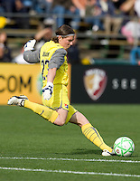 03 May 2009: Sky Blue FC goalkeeper Jenni Branam kicks the ball during the game against FC Gold Pride at Buck Shaw Stadium in Santa Clara, California.   FC Gold Pride defeated Sky Blue FC, 1-0.