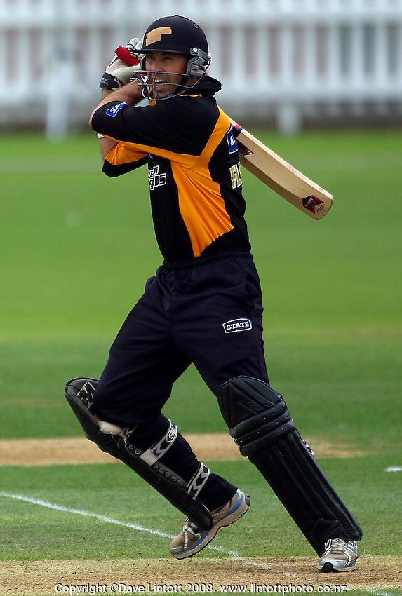 Stephen Fleming bats. State Shield cricket match. Wellington Firebirds v Otago Volts. Allied Prime Basin Reserve, Wellington. Sunday 10 February 2008. Photo: Dave Lintott / lintottphoto.co.nz
