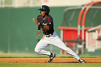 Tim Anderson (2) of the Kannapolis Intimidators takes off for second base against the Rome Braves at CMC-Northeast Stadium on August 25, 2013 in Kannapolis, North Carolina.  The Intimidators defeated the Braves 9-0.  (Brian Westerholt/Four Seam Images)