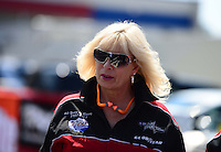 Sept. 15, 2012; Concord, NC, USA: NHRA wife of top fuel dragster driver Chris Karamesines during qualifying for the O'Reilly Auto Parts Nationals at zMax Dragway. Mandatory Credit: Mark J. Rebilas-