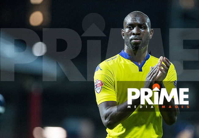 Souleymane Doukara of Leeds United  applauds the supporters during the Sky Bet Championship match between Brentford and Leeds United at Griffin Park, London, England on 26 January 2016. Photo by Andy Rowland / PRiME Media Images.