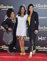 LOS ANGELES, CA. April 4, 2016. Actresses Yvette Nicole Brown, Garcelle Beauvais &amp; Angie Harmon at the world premiere of &quot;The Jungle Book&quot; at the El Capitan Theatre, Hollywood.<br /> Picture: Paul Smith / Featureflash