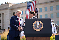 United States President Donald J. Trump is introduced by United States Secretary of Defense Dr. Mark T. Esper before delivering remarks at a ceremony at the Pentagon during the 18th anniversary commemoration of the September 11 terrorist attacks, in Arlington, Virginia on Wednesday, September 11, 2019. <br /> Credit: Kevin Dietsch / Pool via CNP /MediaPunch