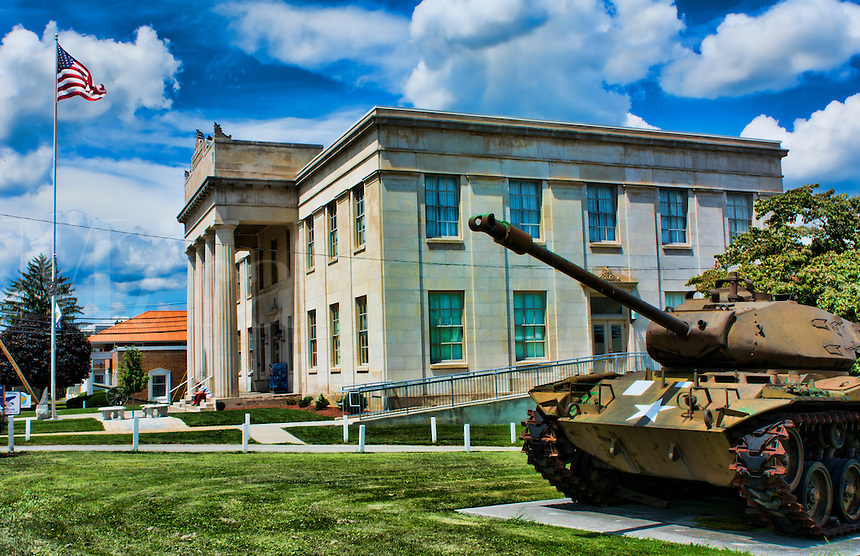 Princeton West Virginia in Mercer County Memorial Building for all soldiers who served in US Military  with old tank