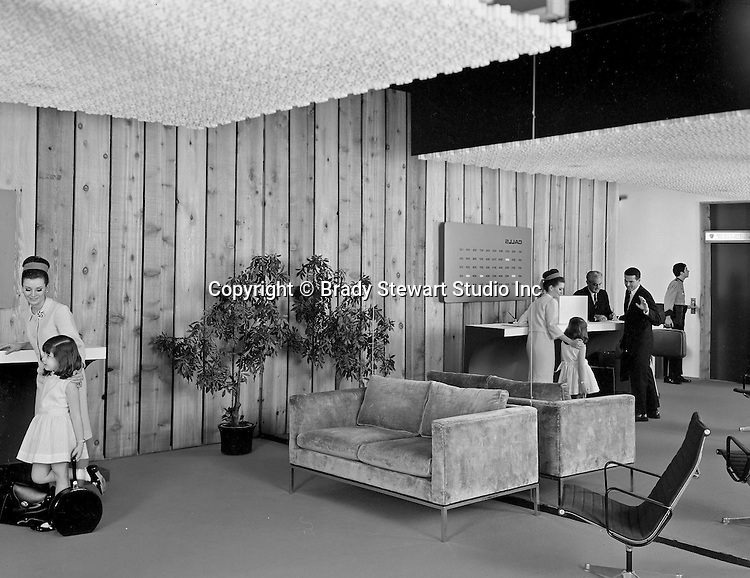 Pittsburgh PA: View of the lobby of a new Howard Johnson Motor Inn - 1967.  Assignment was for a local advertising agency promoting the grand opening.