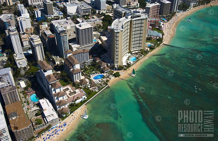 Halekulani Hotel with Orchid design in pool along Waikiki Beach
