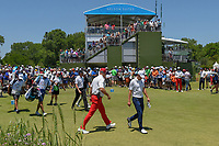 Jordan Spieth (USA), Jimmy Walker (USA), and Graeme McDowell (NIR) make their way down 1 during round 1 of the AT&T Byron Nelson, Trinity Forest Golf Club, at Dallas, Texas, USA. 5/17/2018.<br /> Picture: Golffile | Ken Murray<br /> <br /> <br /> All photo usage must carry mandatory copyright credit (© Golffile | Ken Murray)