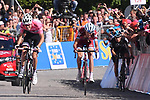 Race leader Maglia Rosa Tom Dumoulin (NED) Team Sunweb rides away from Ilnur Zakarin (RUS) Team Katusha Alpecin and Mikel Landa Meana (ESP) Team Sky to win Stage 14 of the 100th edition of the Giro d'Italia 2017, running 131km from Castellania to Oropa, Italy. 20th May 2017.<br /> Picture: LaPresse/Gian Mattia D'Alberto | Cyclefile<br /> <br /> <br /> All photos usage must carry mandatory copyright credit (&copy; Cyclefile | LaPresse/Gian Mattia D'Alberto)