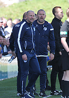 Irate Queen of the South Manager Allan Johnston and Assistant Manager Sandy Clark in the SPFL Ladbrokes Championship Play Off semi final match between Queen of the South and Montrose at Palmerston Park, Dumfries on  11.5.19.