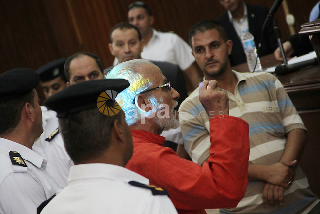 "Egyptian Muslim Brotherhood leader Mohammed Badie speaks to judges during his trial in a case known in media as ""Rabaa Operations Room"", in Cairo, on Sep. 06, 2016. Photo by Amr Sayed"