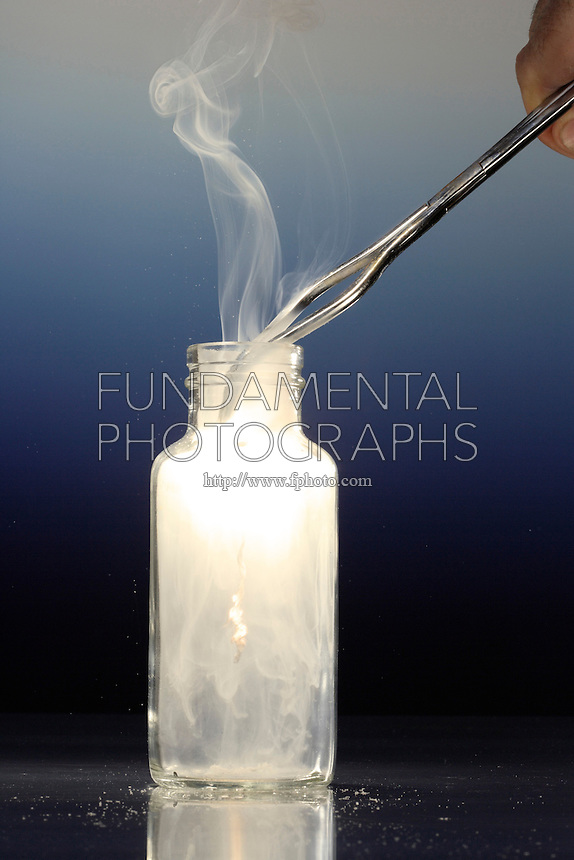 MAGNESIUM BURNING IN OXYGEN.Ignited Magnesium In Oxygen..The magnesium coil burns with a bright white flame, producing a white smoke of solid magnesium oxide (MgO).