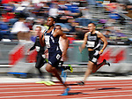 SIOUX FALLS, SD - MAY 3:  Breyan Miller from Dickinson State races to the finish line of the Men's 100 Meter Dash Saturday at the 2014 Howard Wood Dakota Relays. (Photo by Dave Eggen/Inertia)