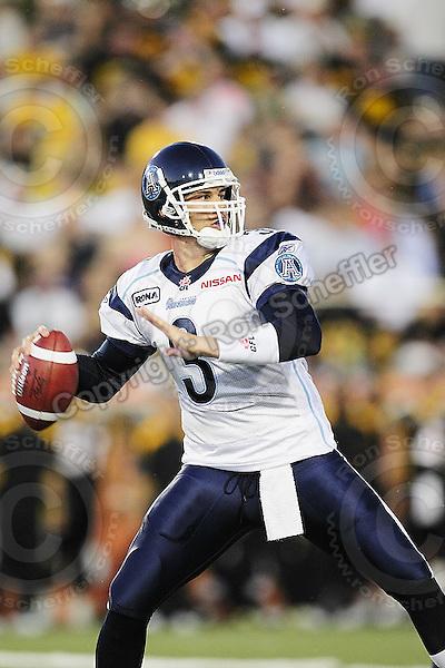 June 23, 2009; Hamilton, ON, CAN; Toronto Argonauts quarterback Cody Pickett (3). CFL football: Toronto Argonauts vs. Hamilton Tiger-Cats at Ivor Wynne Stadium. The Argos defeated the Tiger-Cats 27-17. Mandatory Credit: Ron Scheffler. Copyright (c) 2009 Ron Scheffler.