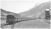 Eleven-car D&amp;RGW Rocky Mountain Railroad Club special train in Silverton.<br /> D&amp;RGW  Silverton, CO  Taken by Welch, Ronald - 5/29/1955