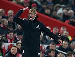 Jurgen Klopp manager of Liverpool tries to fire up the crowd during the Premier League match at the Anfield Stadium, Liverpool. Picture date: November 26th, 2016. Pic Simon Bellis/Sportimage