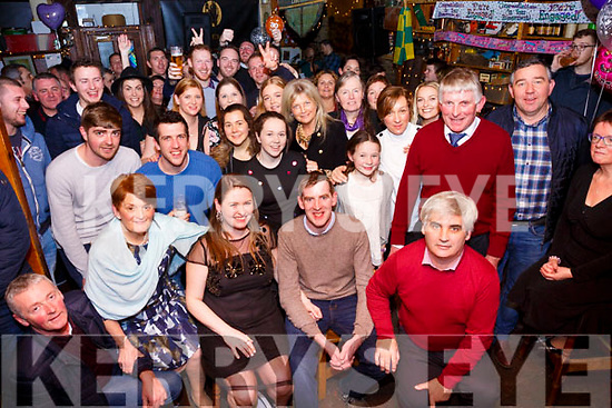 Marian Cournane seated front centre from Cahersiveen with a double celebration in Mike Murts Bar on Saturday night as she celebrated her 30th birthday and also celebrated her recent engagement to fiancé Hugh O'Connor seated  centre.