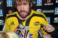 Andrew Hore talks to the media after his last match for the Hurricanes. Super 15 rugby match - Crusaders v Hurricanes at Westpac Stadium, Wellington, New Zealand on Saturday, 18 June 2011. Photo: Dave Lintott / lintottphoto.co.nz
