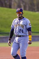 Burlington Bees third baseman Kevin Maitan (24) warms up in the outfield prior to a Midwest League game against the Wisconsin Timber Rattlers on April 26, 2019 at Fox Cities Stadium in Appleton, Wisconsin. Wisconsin defeated Burlington 2-0. (Brad Krause/Four Seam Images)