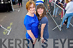 Geraldine Riordan (Tralee) and Amel Seabk (London) waiting for the Union J concert in Denny Street on Friday.