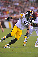 19 August 2013:  Steelers DE Brett Keisel (99) rushes. The Washington Redskins defeated the Pittsburgh Steelers 24-13 in preseason action at FedEx Field in Landover, MD.