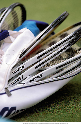 Detail of a bag of tennis raquets, Stella Artois Tennis Championships, Queens Club, 930. Photo: Neale Haynes/Action Plus....1993.  detail.sports equipment.  ident.tennis.racquet racket.closeup close up close-up.illustration