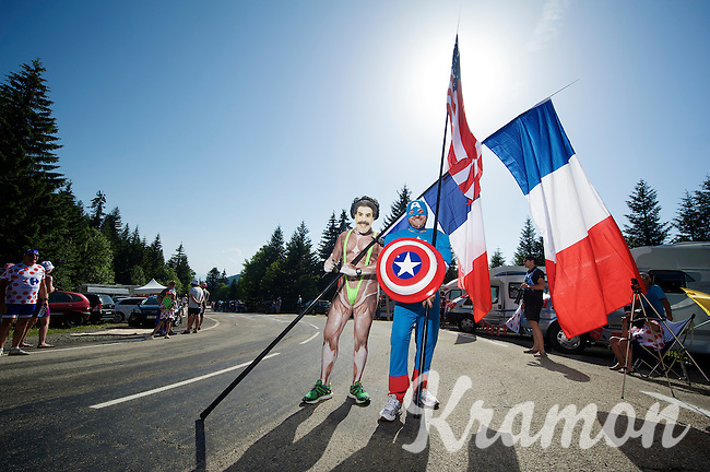 'Superheroes' Borat &amp; Captain America there to buzz some power over to the riders up the final climb to Chamrousse <br /> <br /> 2014 Tour de France<br /> stage 13: Saint-Eti&egrave;nne - Chamrousse (197km)